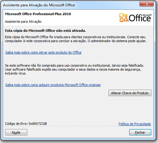 chave para microsoft office professional 2010