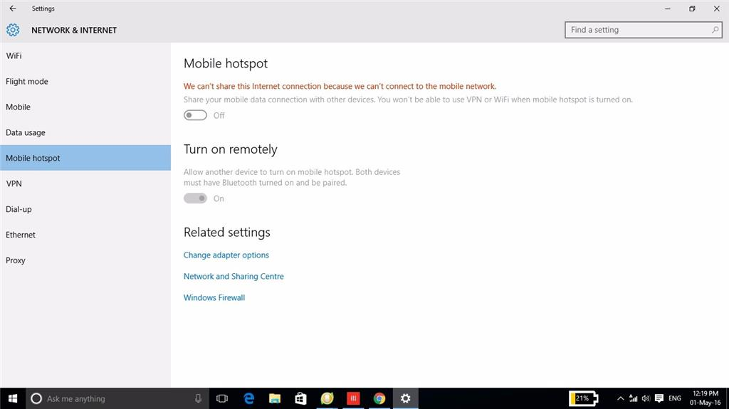 Unable to turn on Windows 10 Mobile Hotspot, showing greyed out