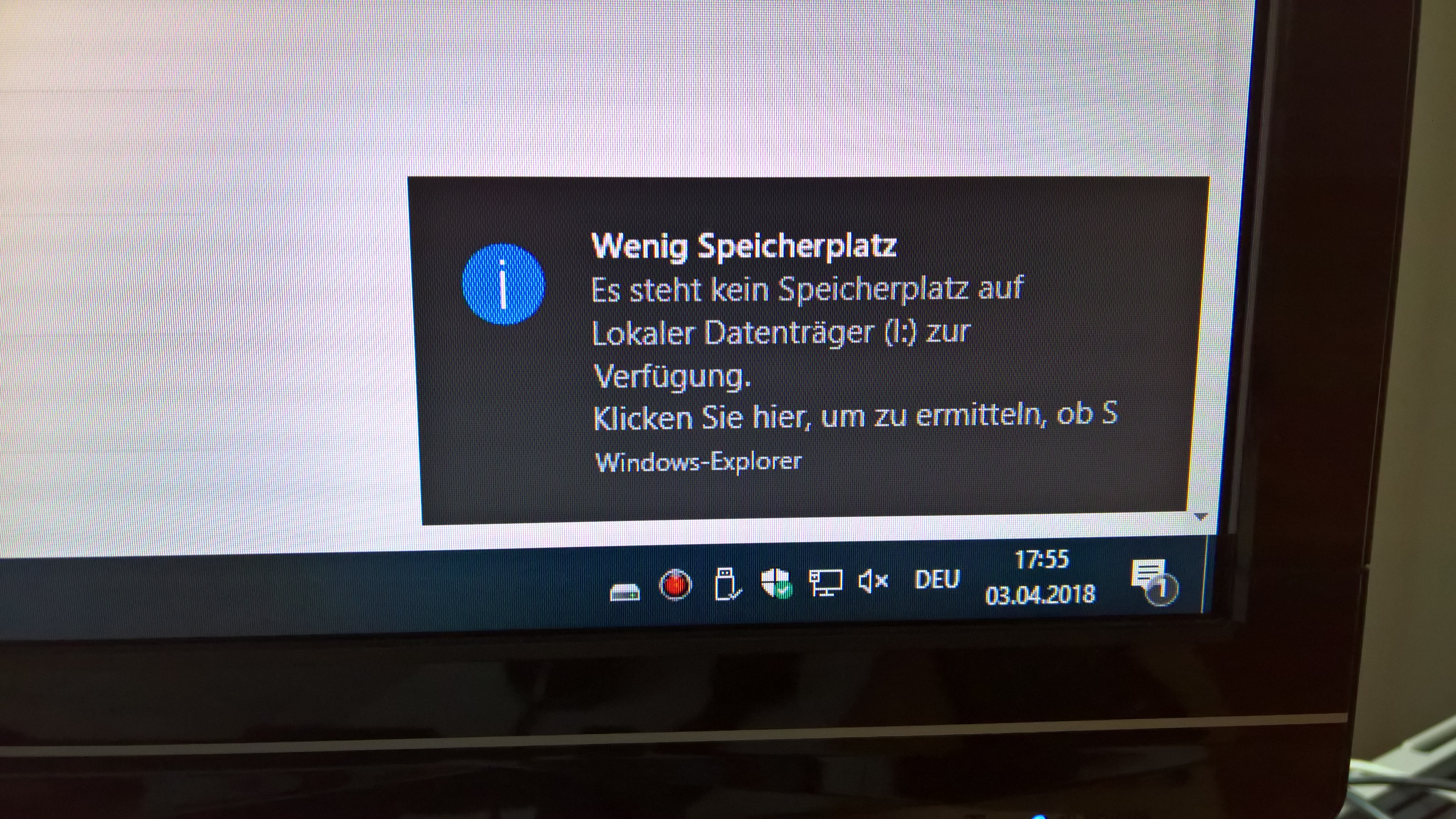"""Nach dem Update """"Wenig Speicherplatz"""""""