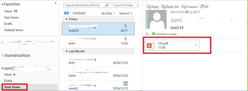 OUTLOOK 2016 attachment not showing in sent items