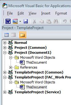Word Template with ActiveX VBA code placed in ThisDocument