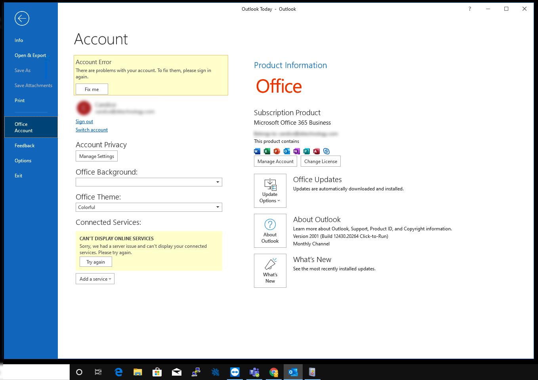 "Office 365 Outlook desktop app sign in loop ""Account Error There -  Microsoft Community"