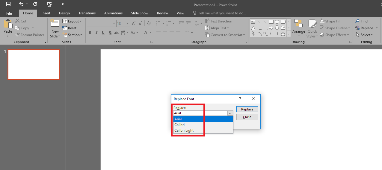 Replace Fonts drop down does not list my font  - Microsoft