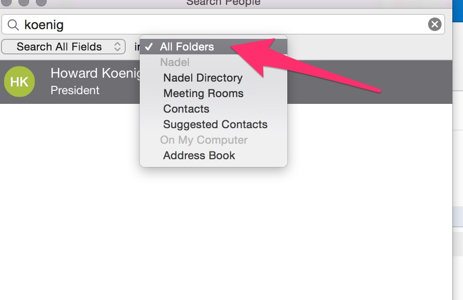 changing default directory when using search people directory