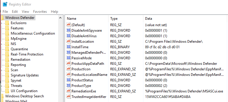 software policies microsoft windows defender disableantispyware