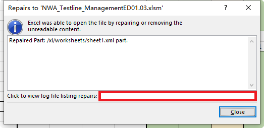 on xl worksheets sheet1 xml part with error