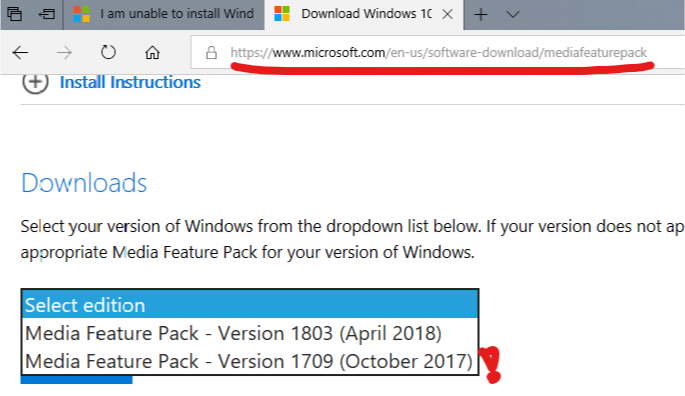 media feature pack for windows 10 enterprise n 1709