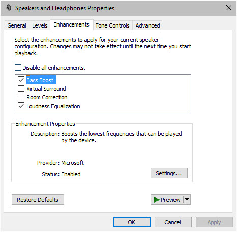 windows 10 turn off sound effects and enhancements