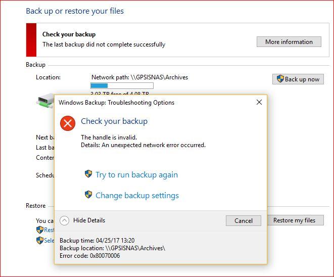 Error During Windows 10 Backup To Nas