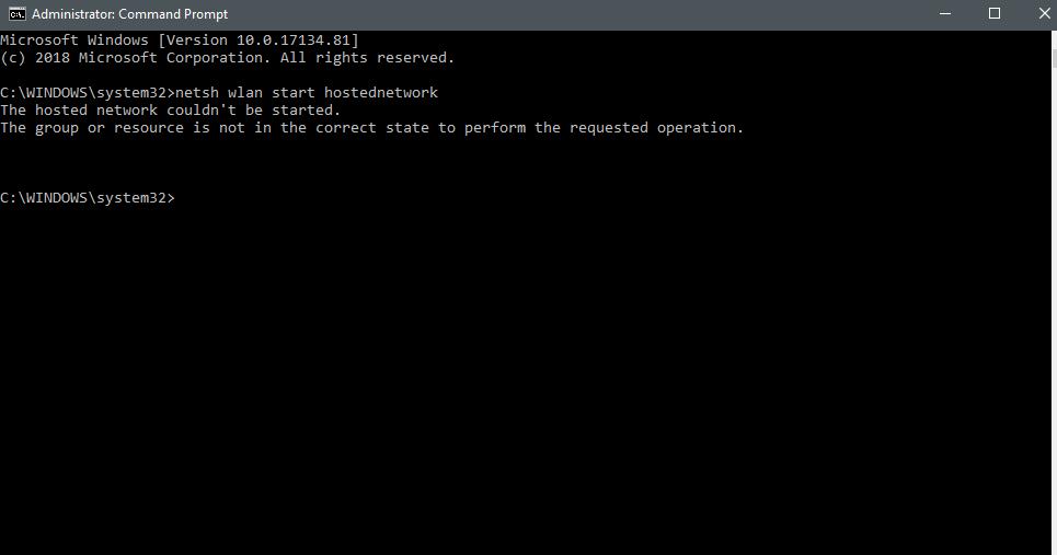 After update windows 17134.81 netsh wlan start hostednetwork cant
