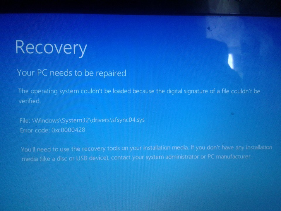 Cannot boot Windows 8 due to error 0xc0000428 - Microsoft Community