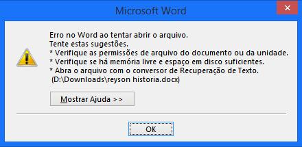 Office 365 Home Premium - erro ao abrir arquivos no Word