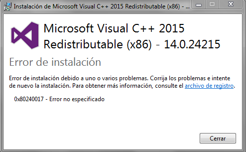 Windows 7 - Error al instalar Microsoft Visual C++ 2015