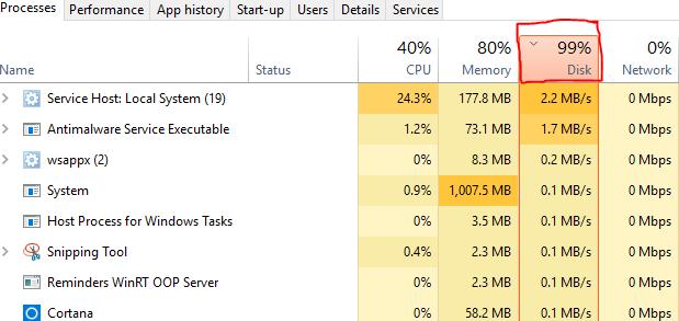 windows system 99 disk usage
