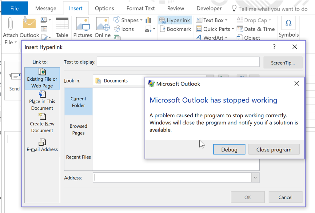 Insert Hyperlink causing Outlook to Stop - Microsoft Community