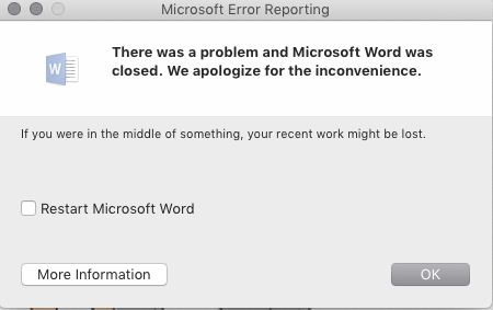 Word suddenly crashes on Mac, cannot save changes
