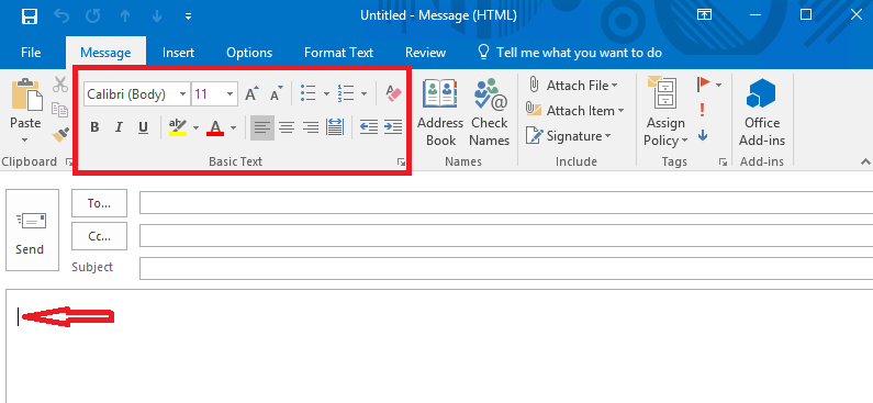 basic text tab is grayed out in the outlook client