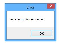 server error access denied when attempting to open microsoft