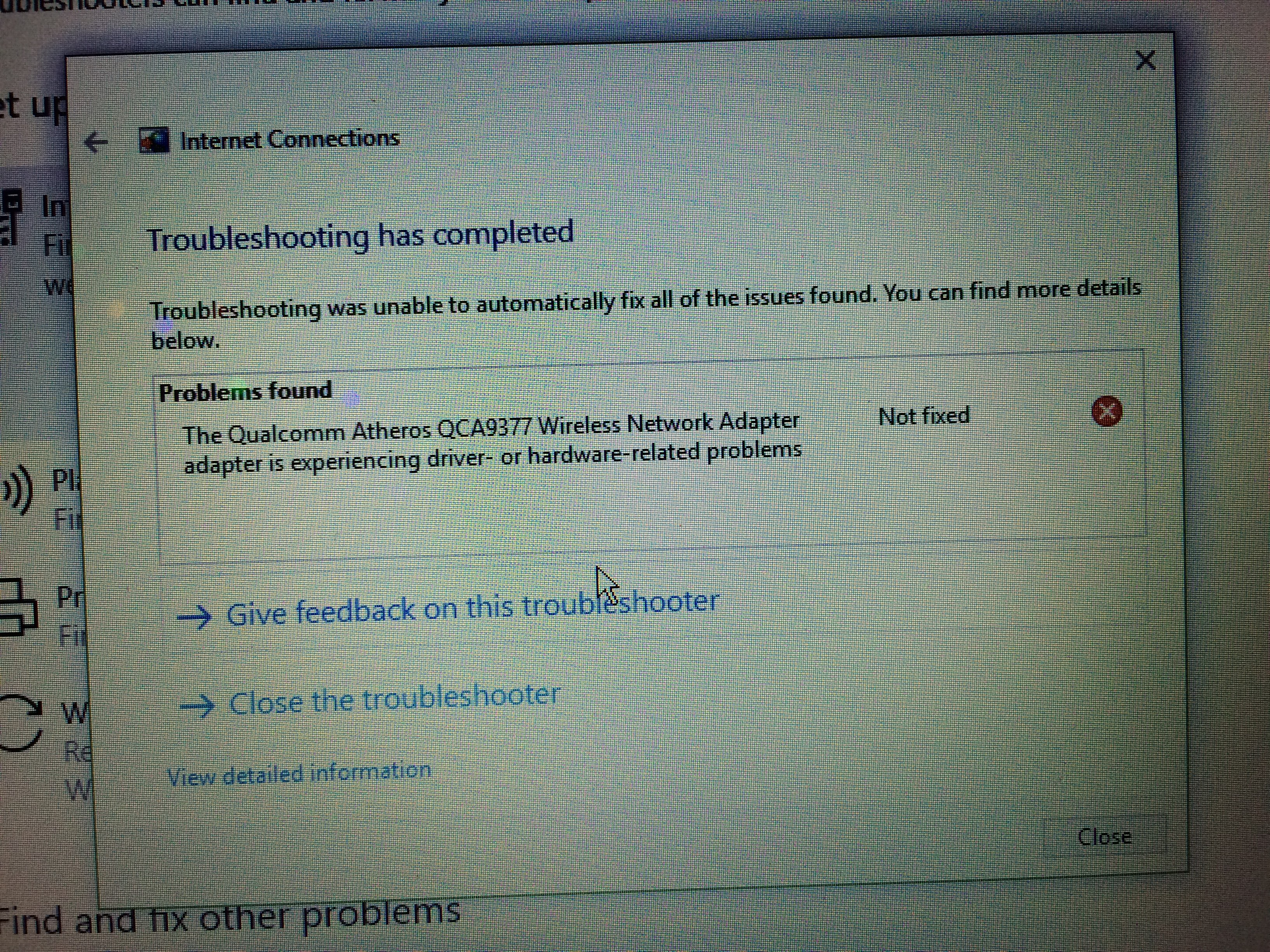 Qualcomm Atheros qca9377 wireless network adapter - Microsoft Community