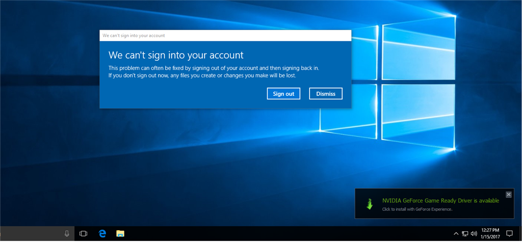 Signed in to temporary profile after update, can\u0027t sign in to main