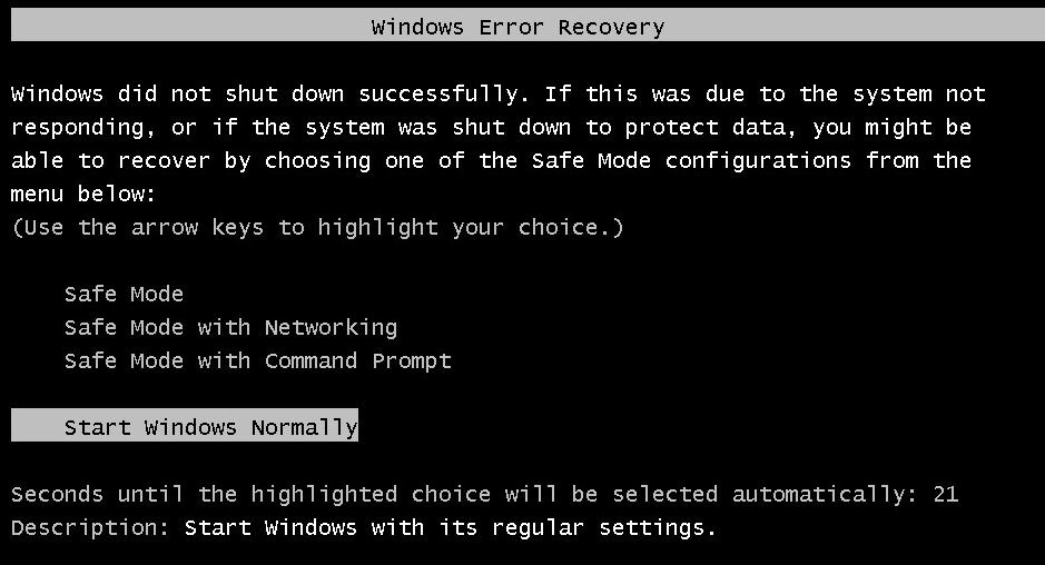 Disable Startup Repair on Windows 7 - Microsoft Community