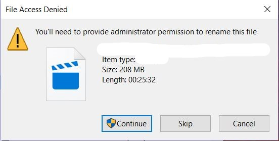 Getting Access Denied Error When Trying To Rename A File