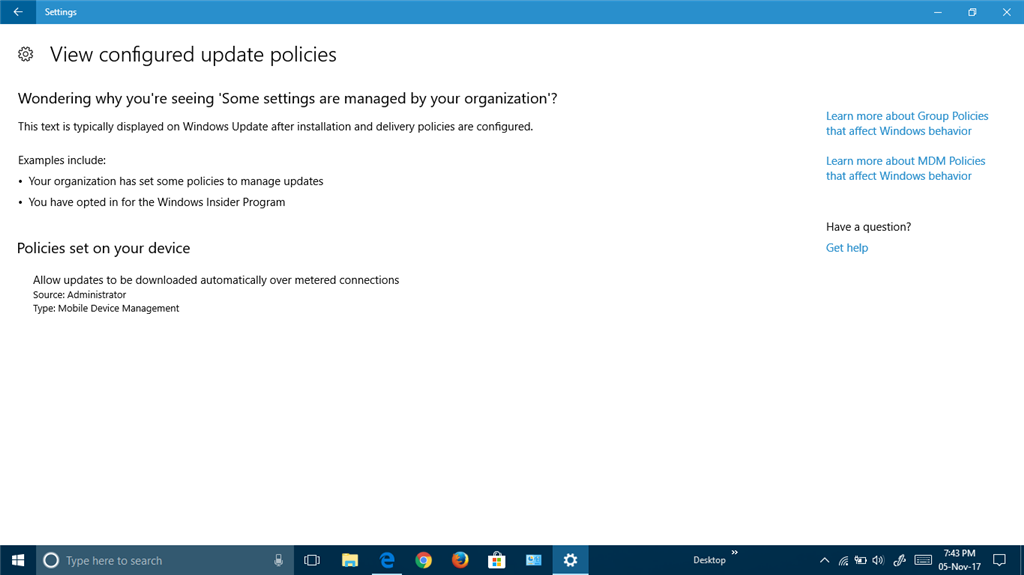windows 10 Some settings are managed by your organization