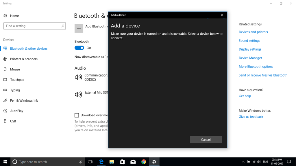 After upgrade of windows 10 Bluetooth device not searching