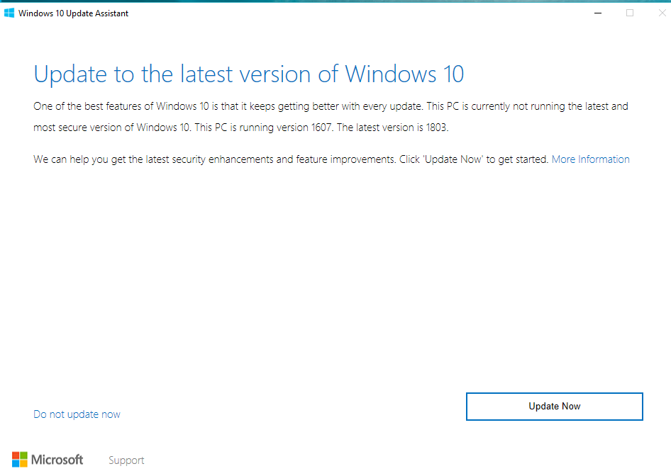 how to update windows 10 version 1607 to 1803