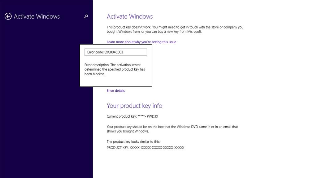 windows 8.1 wont activate with oem key