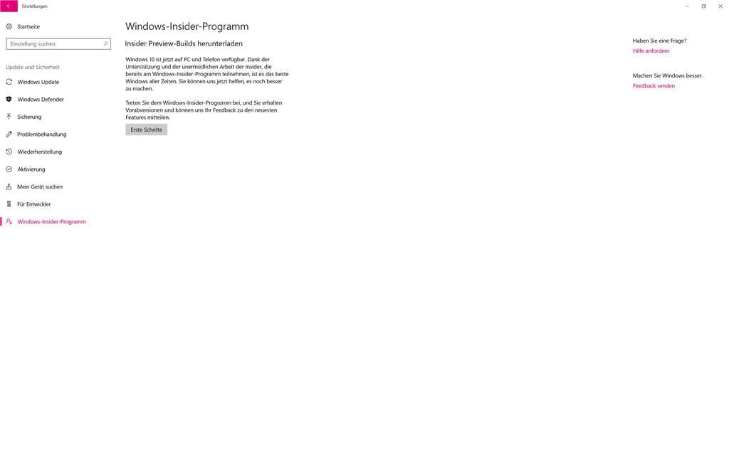 Anmeldung Insider Programm nicht möglich