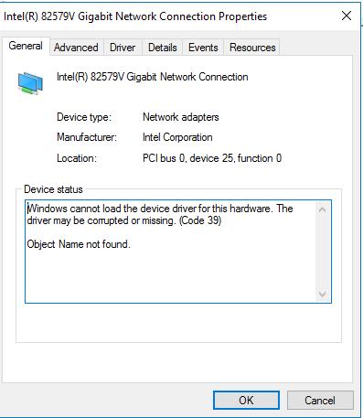 intel(r) 82579v gigabit network connection driver win7