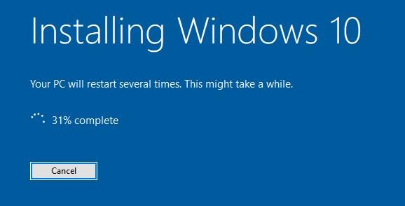 While upgrading to Windows 10 version 1903 installation stucks at