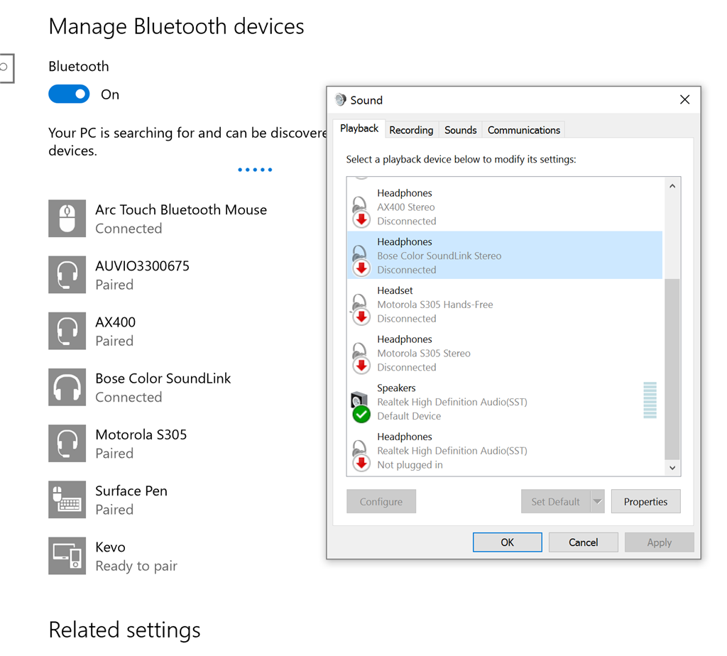 Windows 10 Bluetooth devive connected or disconneted? - Microsoft