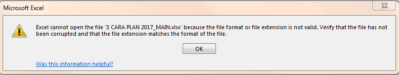 invalid reference. This file version cannot contain formulas ...