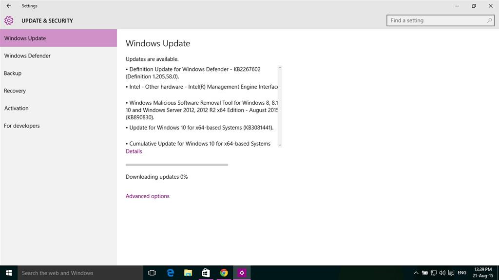 Windows update and store not downloading the updates in