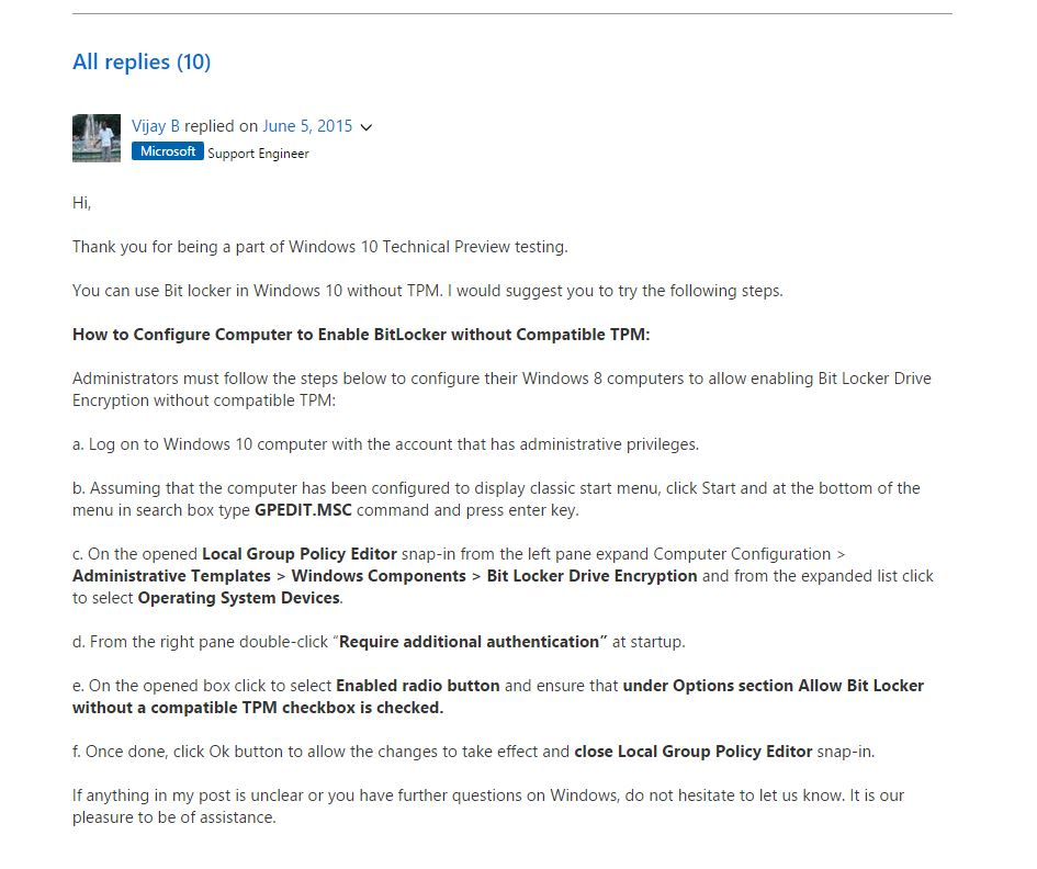 BitLocker on Windows 10 Home edition - Microsoft Community