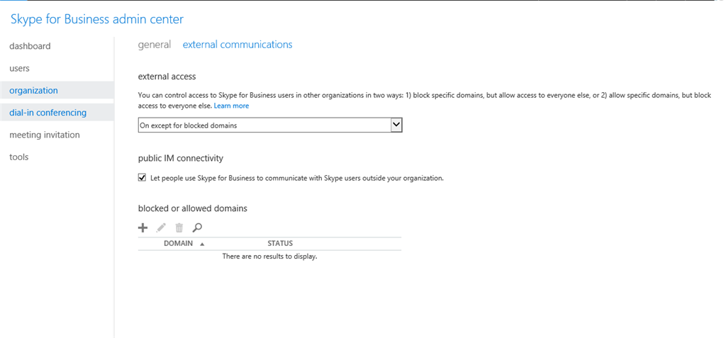 Skype for Business cannot request contact for Skype users