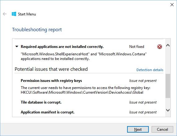 windows 10 error start menu and cortana arent working
