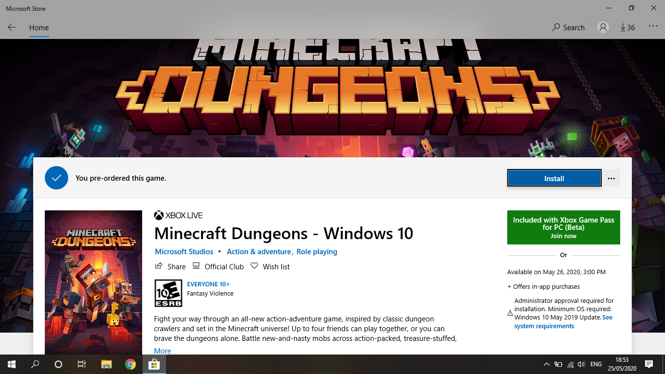 Cant install Minecraft Dungeons on Microsoft Store - Microsoft