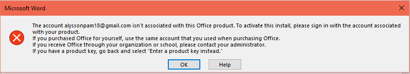 cant activate office 2016 with product key