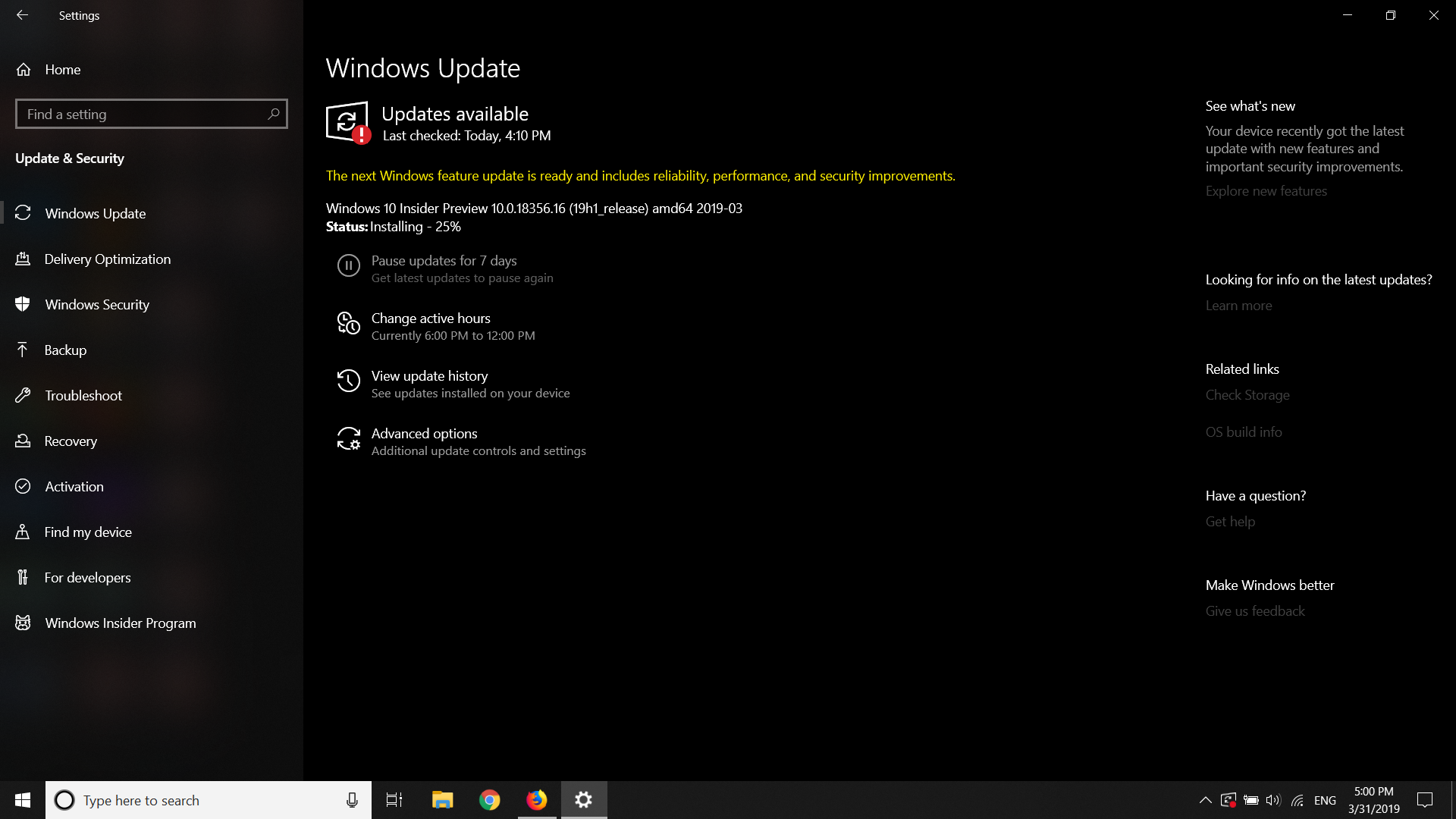 Windows insider 10 0 18356 16 (19h1_release) amd64 2019-03