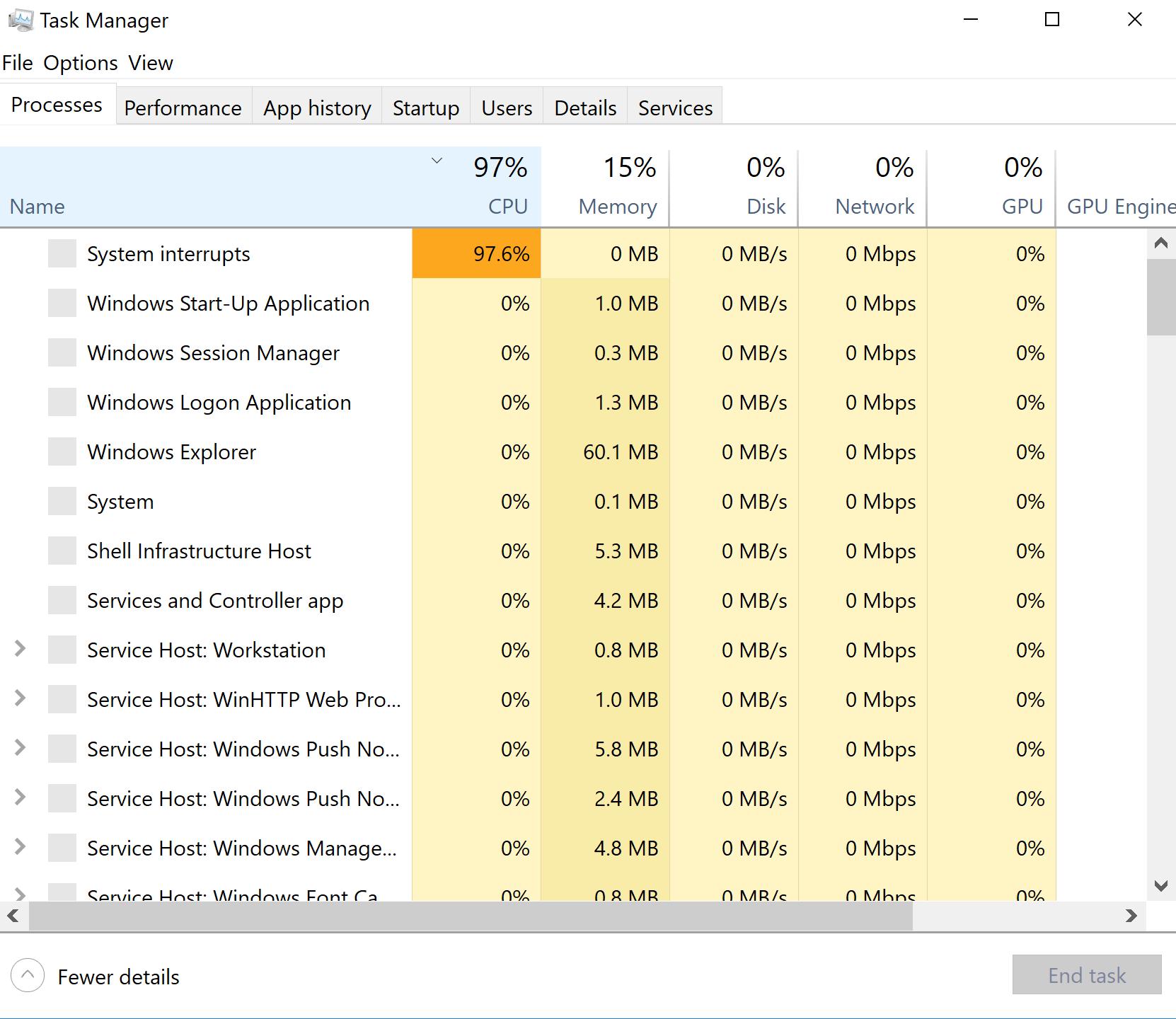 Windows 10 CPU usage 100% when Nvidia GPU enabled - Microsoft Community