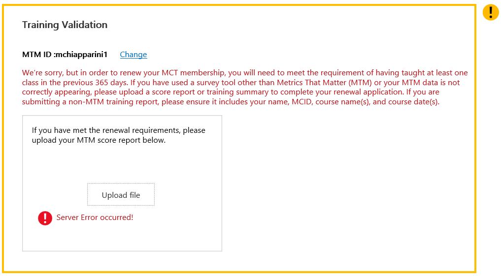 Mct Renewal Enrollment Tool Cant Upload Score Report Training