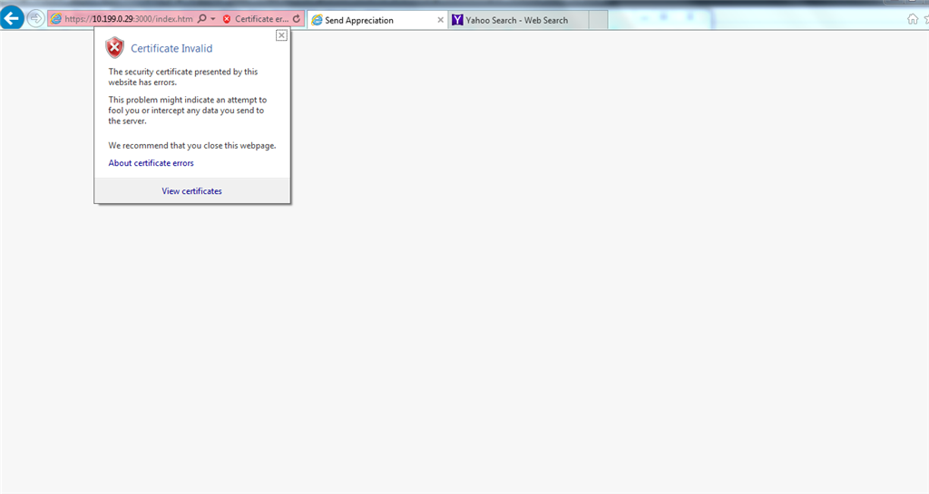 On Trying To Open Https Local Port In Ie It Is Displaying Blank