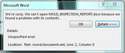 corrupted docx unspecified error part microsoft community