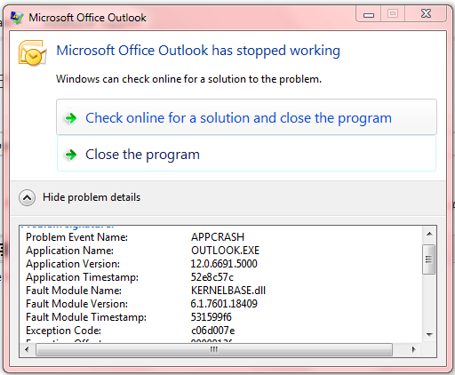 Microsoft Office Outlook Has Stopped Working Microsoft Community