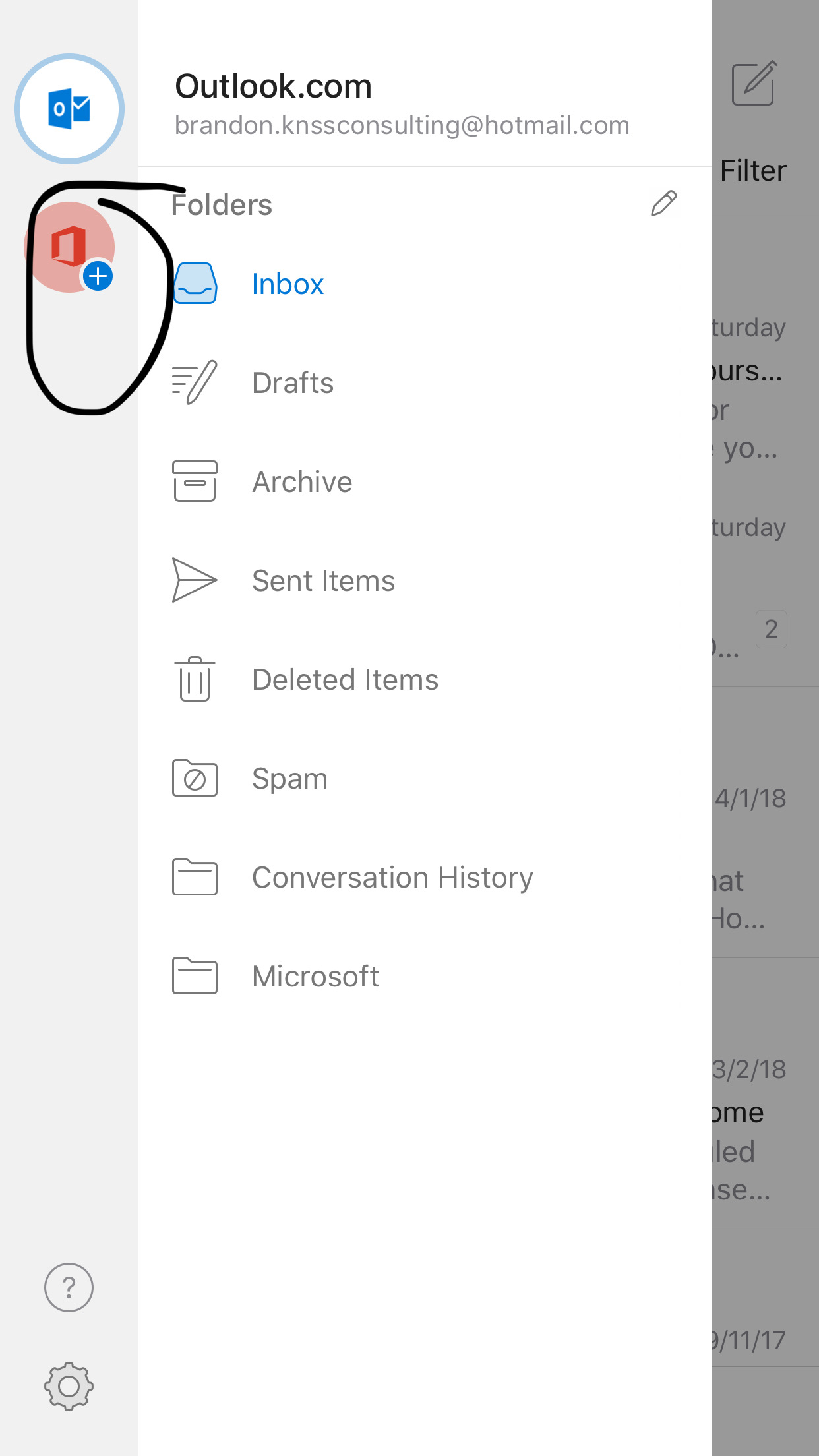 Remove or delete an email account from Outlook app on ios