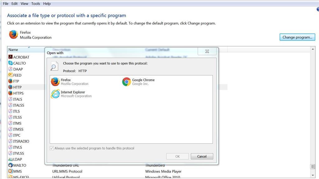 Change default protocol association - Microsoft Community