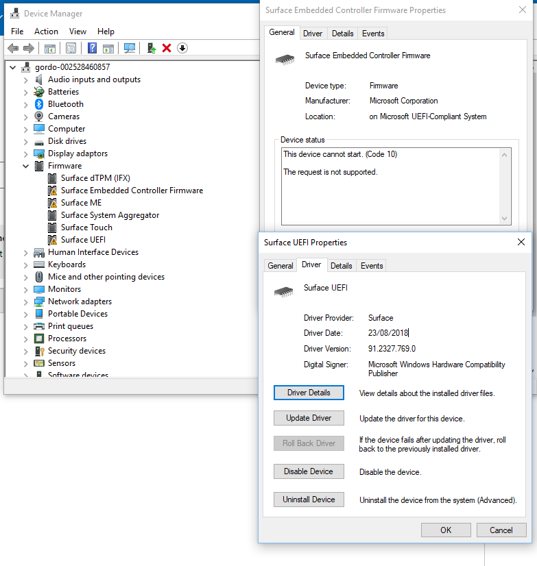 Surface UEFI, Embedded Controller Firmware, and ME driver